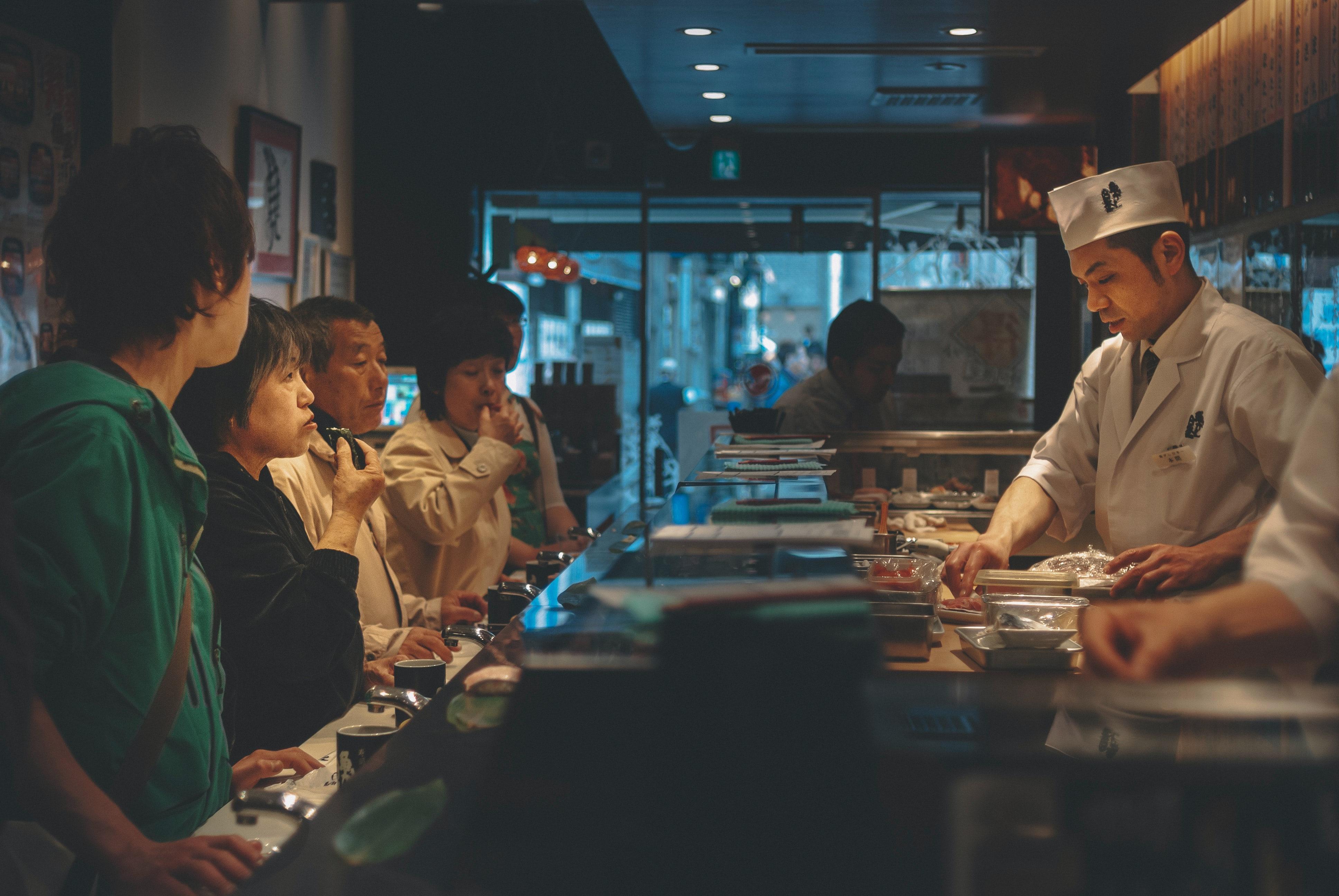 Inside a sushi restaurant