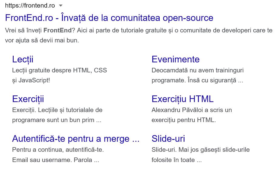Titlul și descrierea vizible într-o căutare pe Google